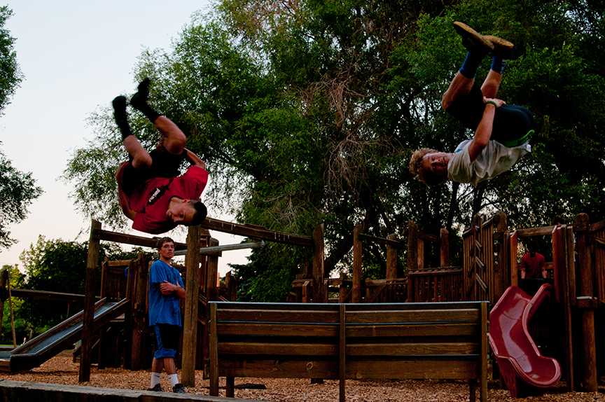 Kids practicing Parkour in Ochoco Creek Park in Prineville.  Photo by Lon Austin