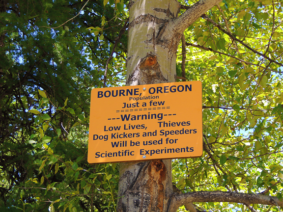 "Bourne, Oregon's ""Welcome Sign"" in Baker County.  Photo by Lynn Murrey"