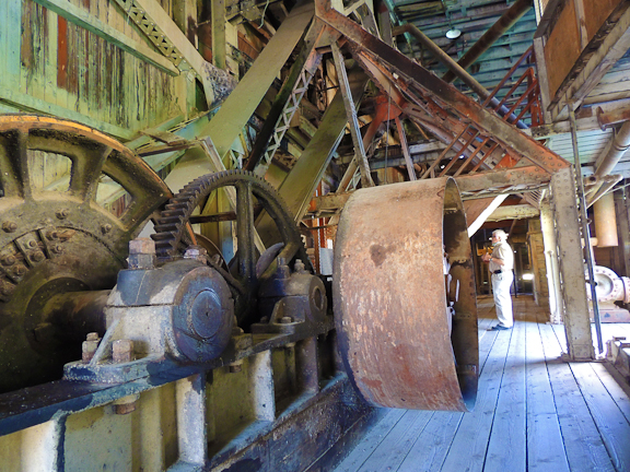 Inside the Sumpter Valley Gold Dredge it took a crew of three to operate the massive machinery. The historic dredge is preserved by the Sumpter Valley Dredge State Heritage Area.  Photo by Lynn Murrey