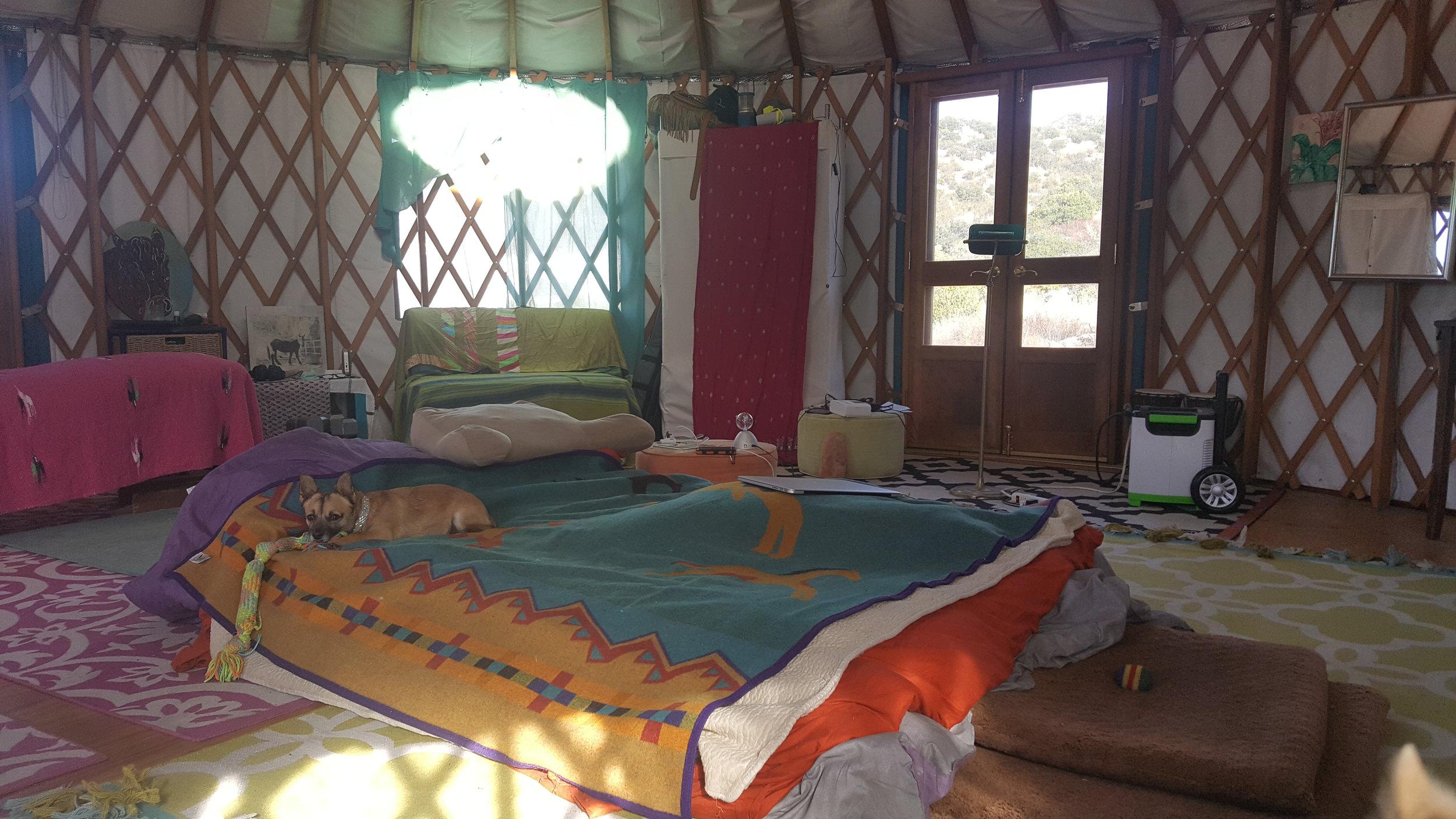 Home comforts inside my yurt
