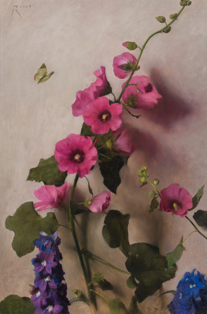 The Visitor (Hollyhocks and Delphinium)