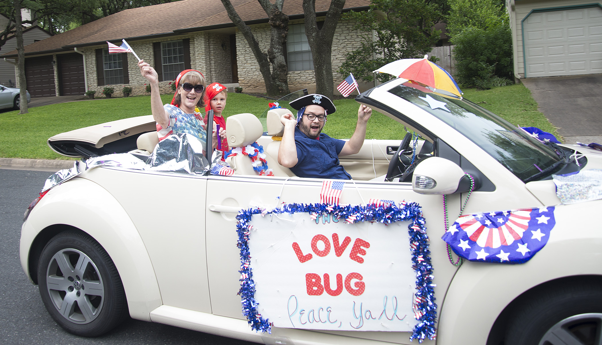 Love Bug won best float two years in row. Must be those patriotic pirates.