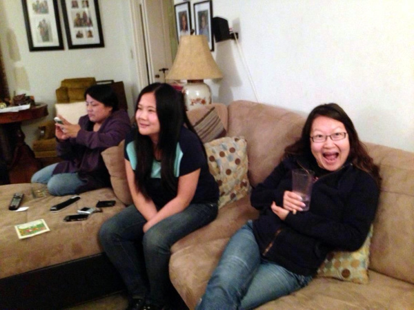 Jenny Yang and Helen Hong on the couch