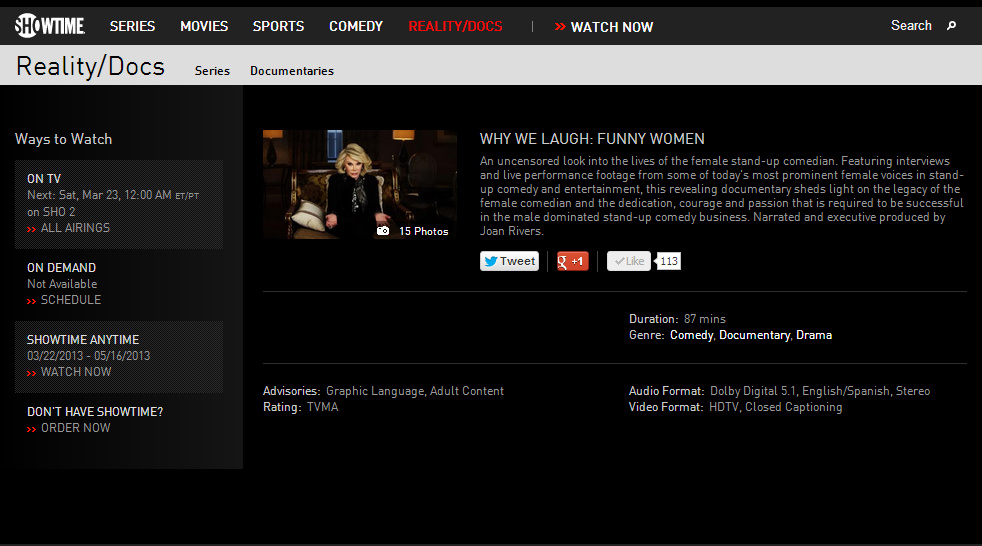 Showtime channel Why We Laugh: Funny Women