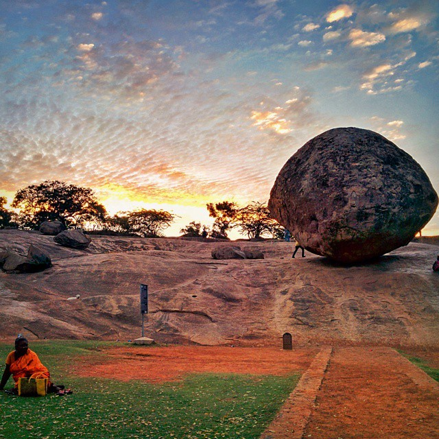 #Mahabalipuram -  Krishna's Butter Ball - This is a giant balancing rock perched on a smooth slope, seemingly defying all laws of physics...  #OneWeekInLifeOfAWeddingPhotographer #PersonalProject