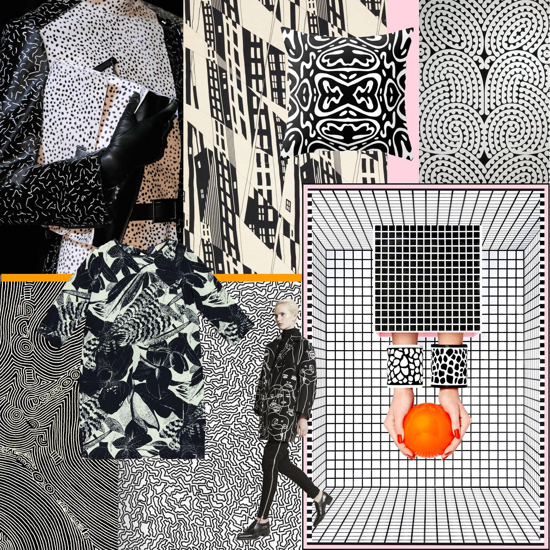 A black + white collage by Liz Nehdi