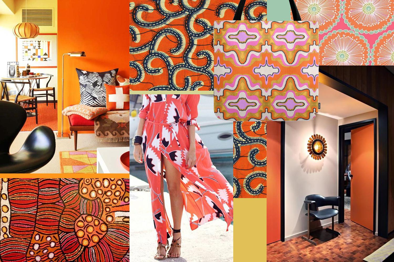 An orange mood board by Liz Nehdi
