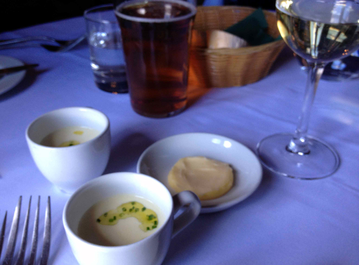 The first course - leek and potato soup with chive oil. So delicious
