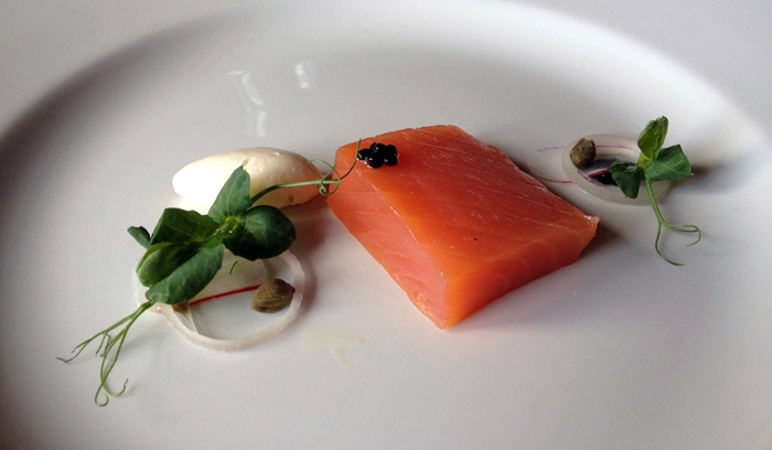The second course - smoked salmon with horseradish cream and caviar. Divine.