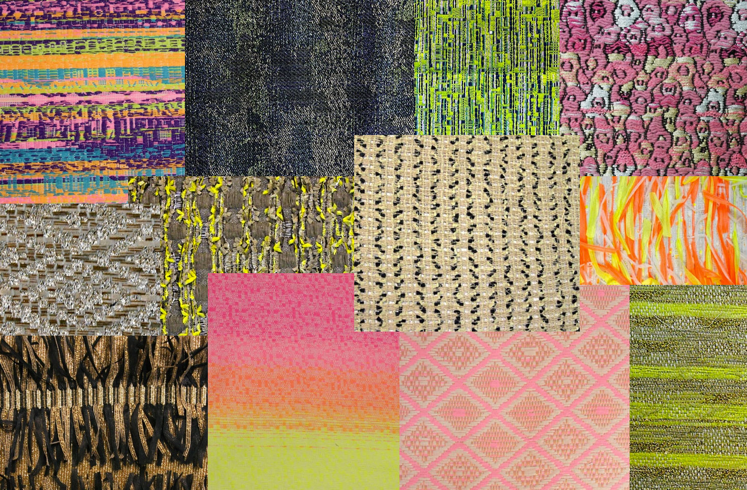 Malhia Kent woven fabrics. Collage by Liz Nehdi
