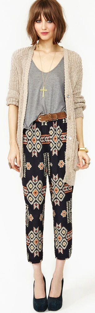 Slouchy ikat capris with a T shirt and cardigan via  Nasty Gal