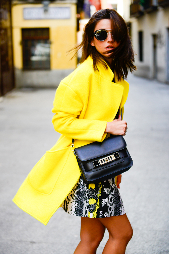 Yellow coat with print dress via  Lovely Pepa