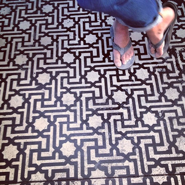 Graphic black and white floor in Venice, CA
