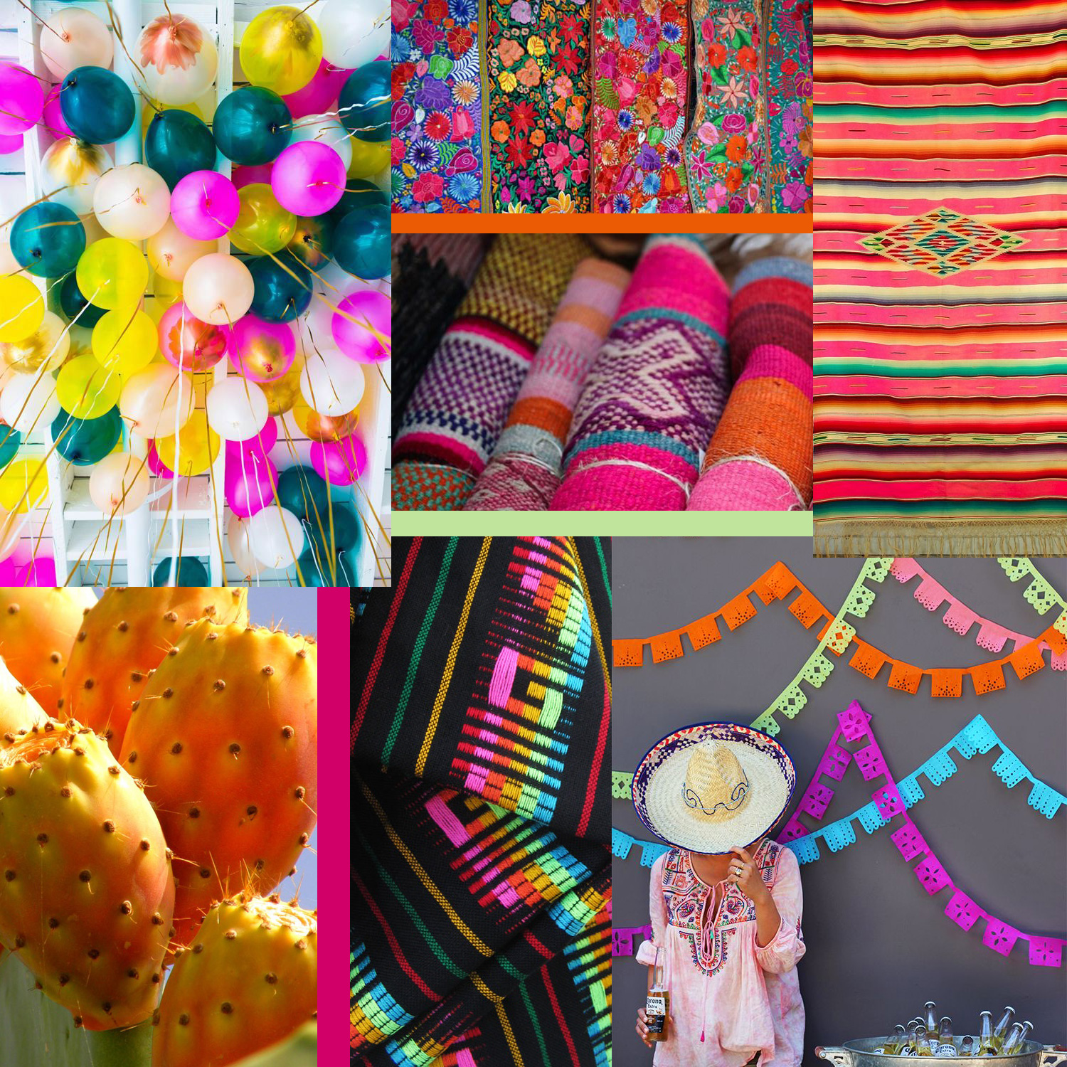 Fiesta Collage by Liz Nehdi. Image credits below