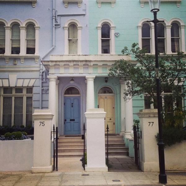 Easter egg coloured houses