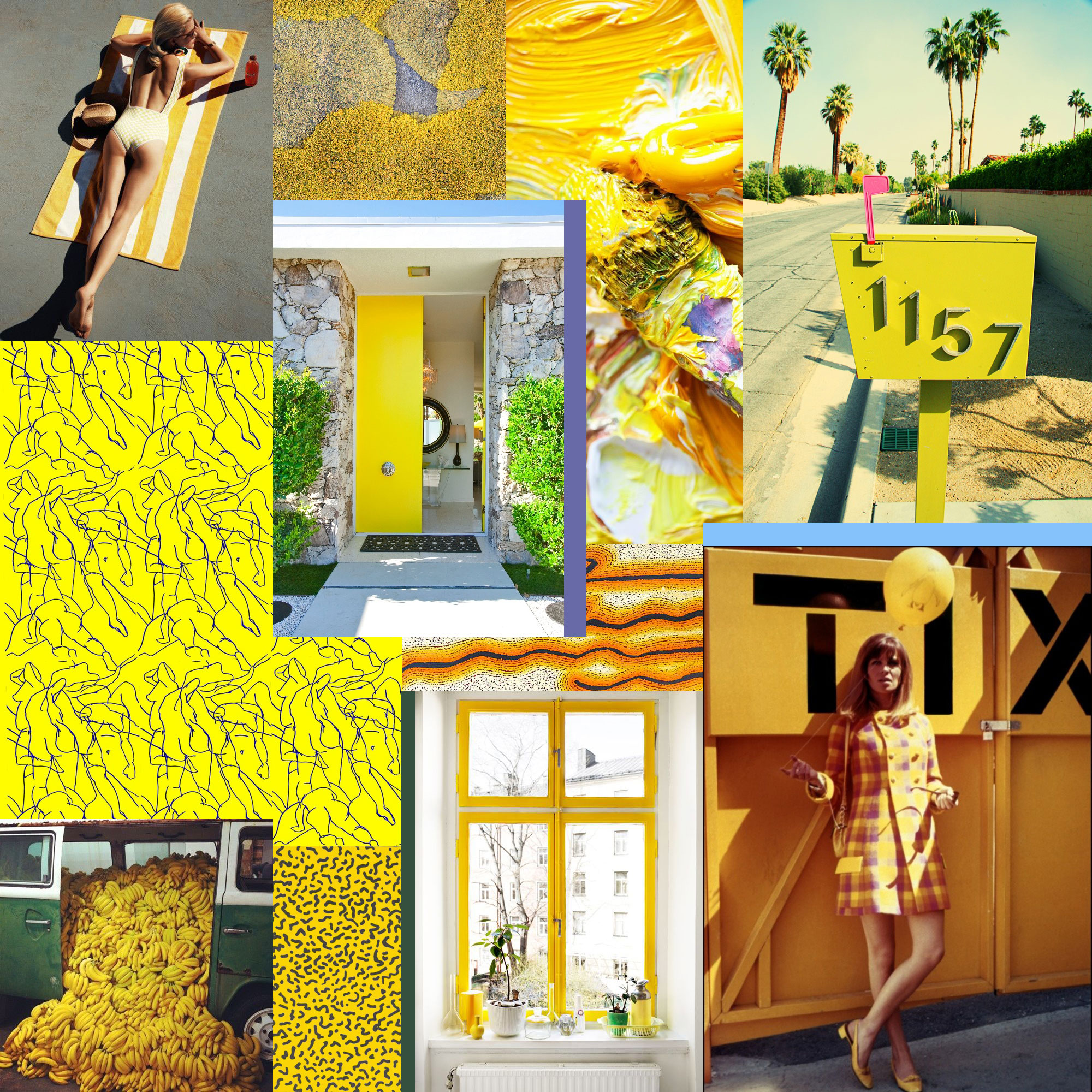 The many moods of yellow, a collage by Liz Nehdi, 2014. Image credits below