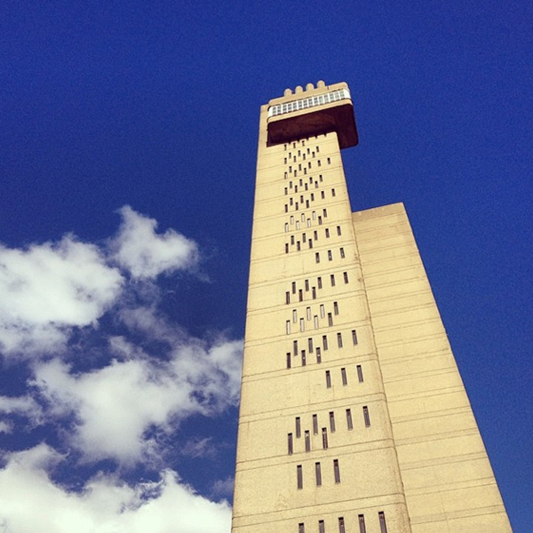The Trellick Tower is a controversial landmark in North Kensington. It was designed in the late 1960s by Brutalist architect Erno Goldfinger. Let's just say that it isn't exactly beautiful from all angles, but in this shot it definitely makes a strong statement against a blue sky with puffy white clouds. A study in composition, pattern and form