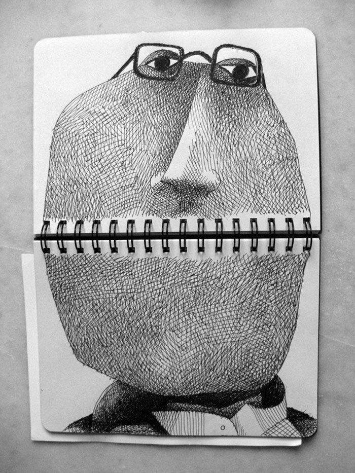 Mr. Potato Head. Tim Burton character. Surrealist doodle.  This skillfully shaded drawing by Francesco Chiacchio is all of these things. Image via  Made By Wolf