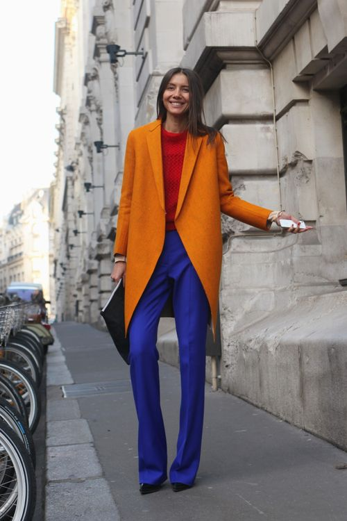 Colour blocking with orange via  WGSN