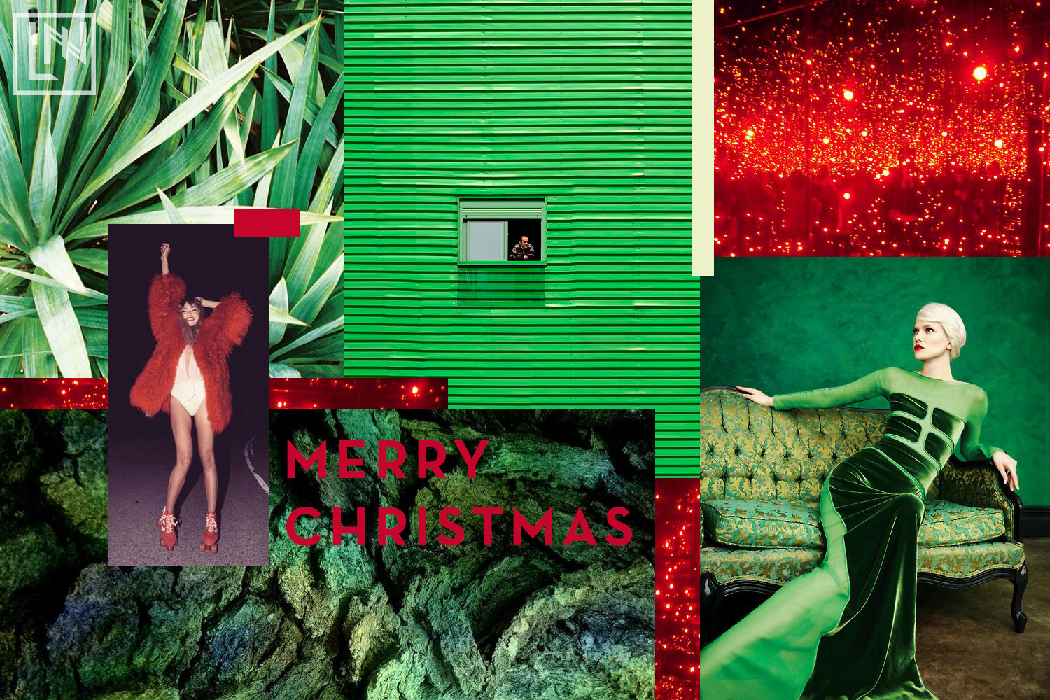 Red + green collage by Liz Nehdi Studio. Image credits below