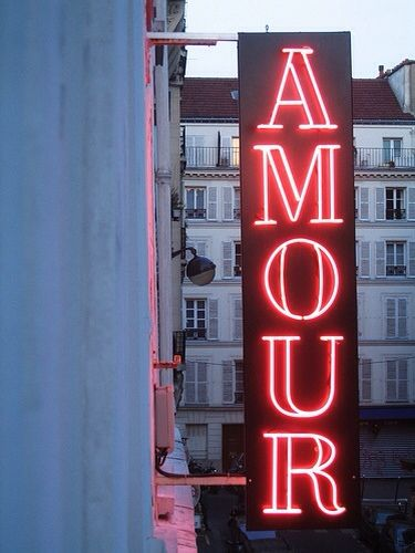 Amour Neon Light via  allegoryofvanity.com