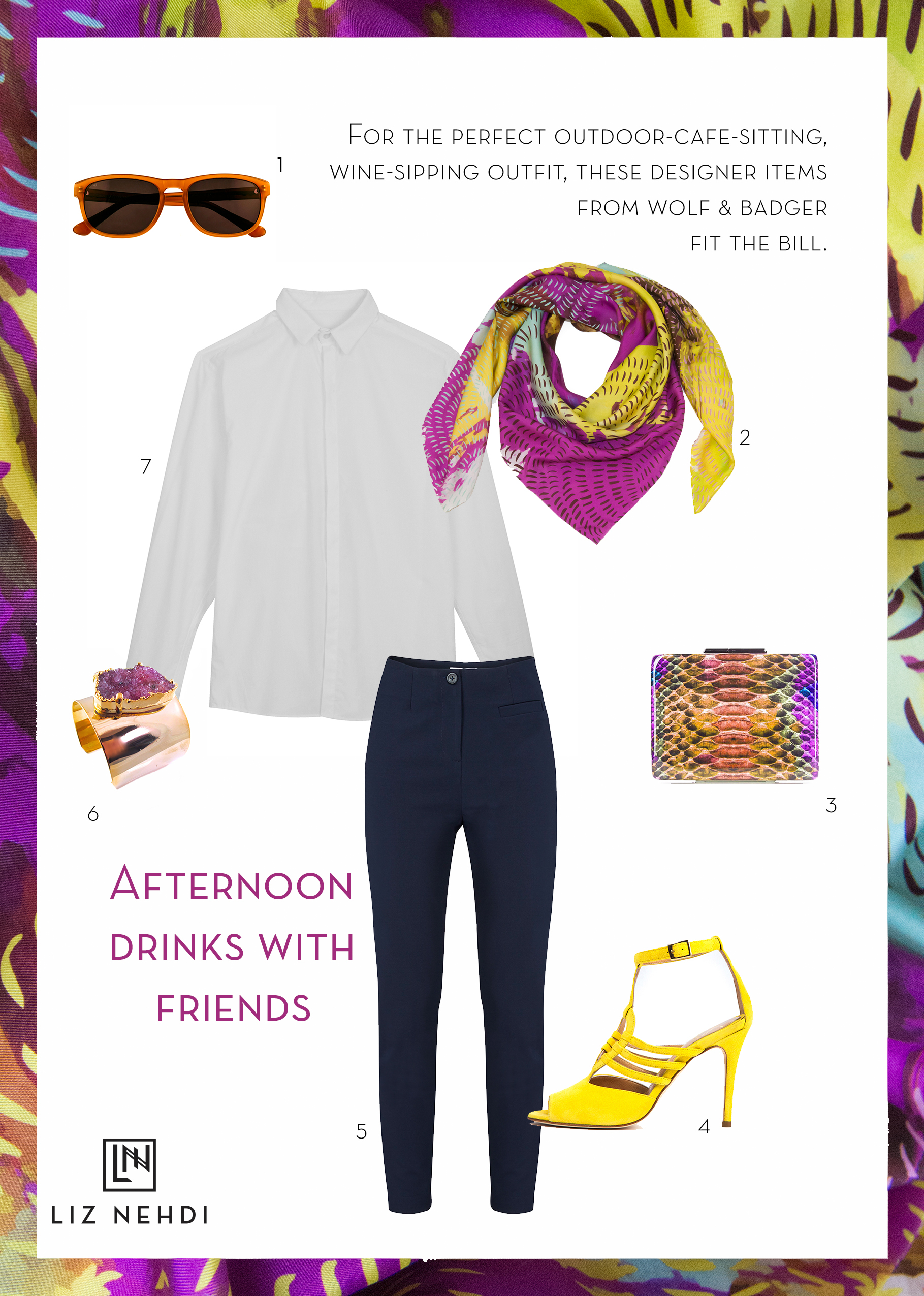 Afternoon drinks outfit collage by Liz Nehdi Studio, 2015. See below for product info