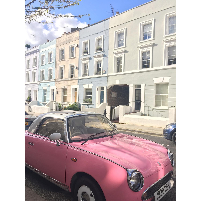 Bubblegum pink Figaro + pastel Notting Hill house perfection