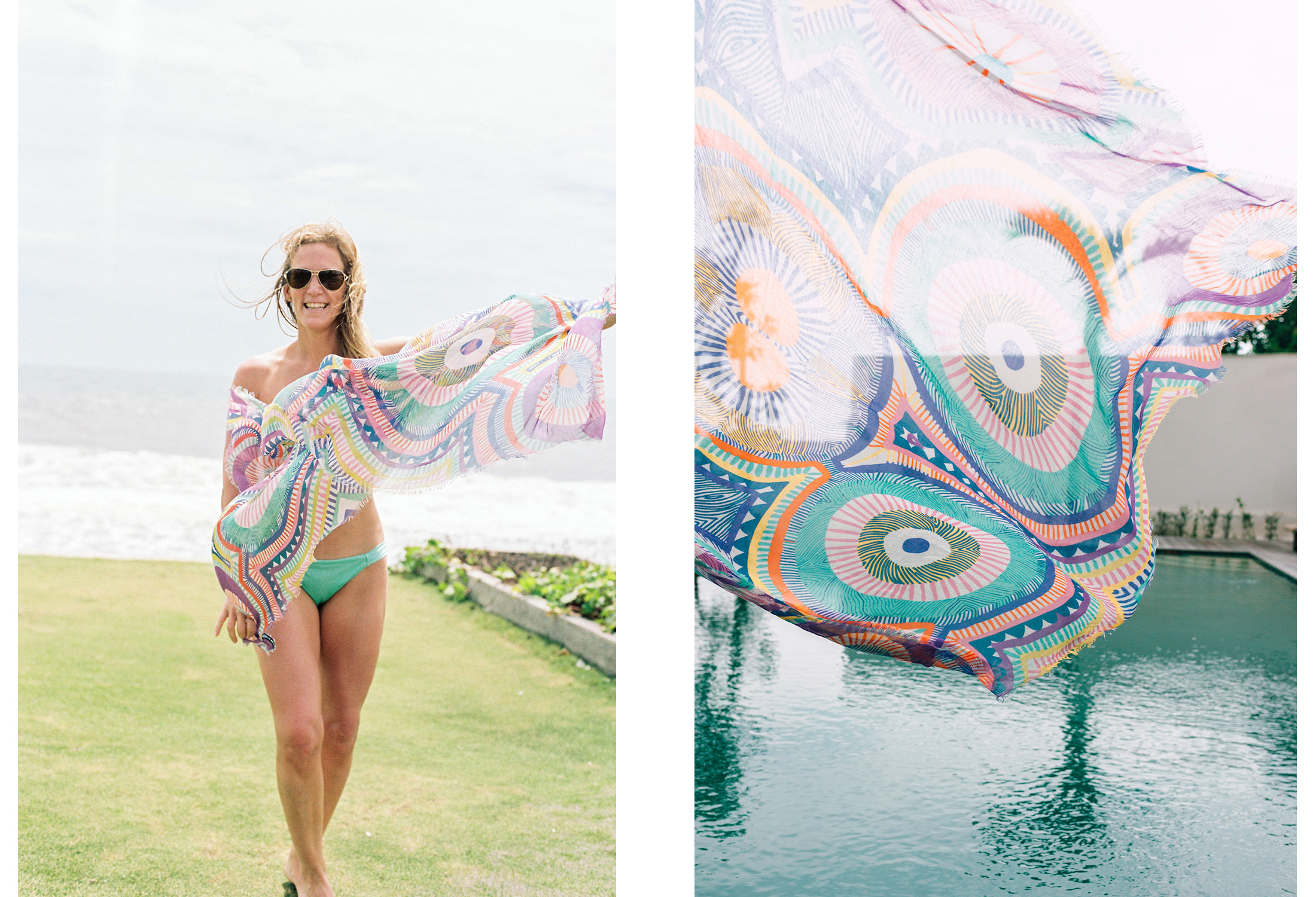 Esther uses our  Byzantium Voyeur scarf  as a beach cover up