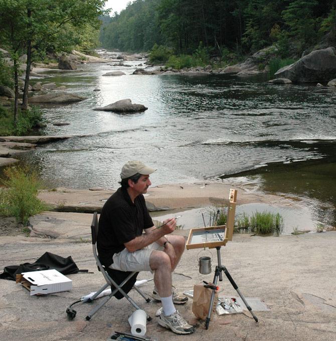 Painting at Wilson Gorge near Lenoir, NC.