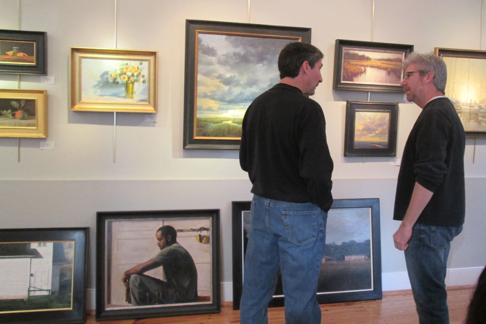 Discussing my paintings with Mark Horton of Horton Hayes Fine Art