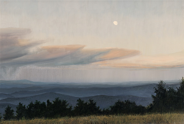 Moonrise Over The Blue Ridge - oil on linen, 16 x 24 inches