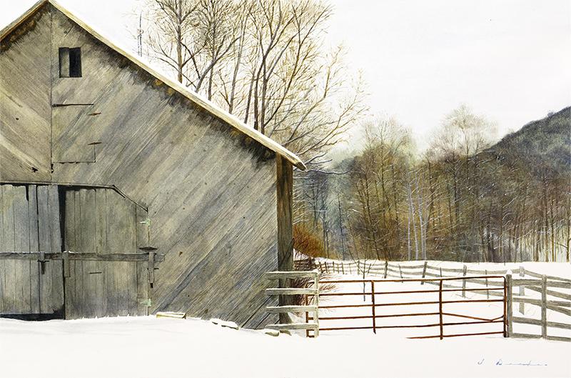 Watauga County Barn - watercolor, SOLD