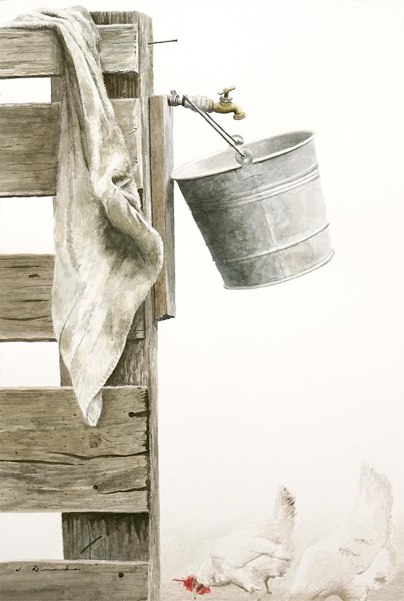 Morning Chores - watercolor, SOLD