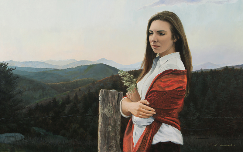 Mountain Girl - oil on linen, 30 x 48""