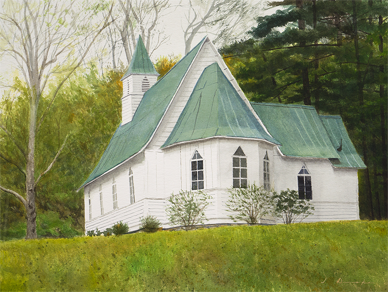 "St. Johns Church    - watercolor on paper, 15 x 20"" Sold"