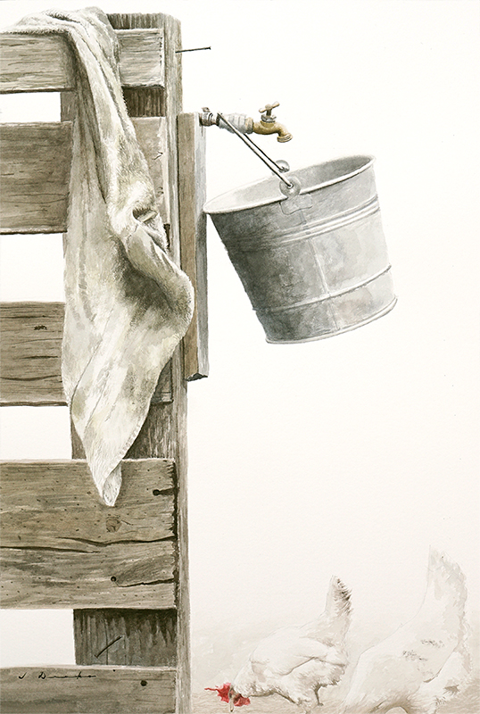 "Morning Chores    - 24 x 16"", watercolor on paper Sold"