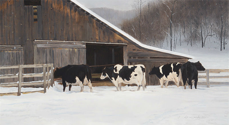 "Cold December Morning    - 14 x 24"", oil on panel Sold"