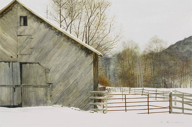 "Watauga County Barn    - watercolor on paper, 18 x 27"", Sold"