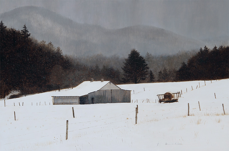 "Snow Storm Over Boone    - 22 x 32"", oil on linen Sold"