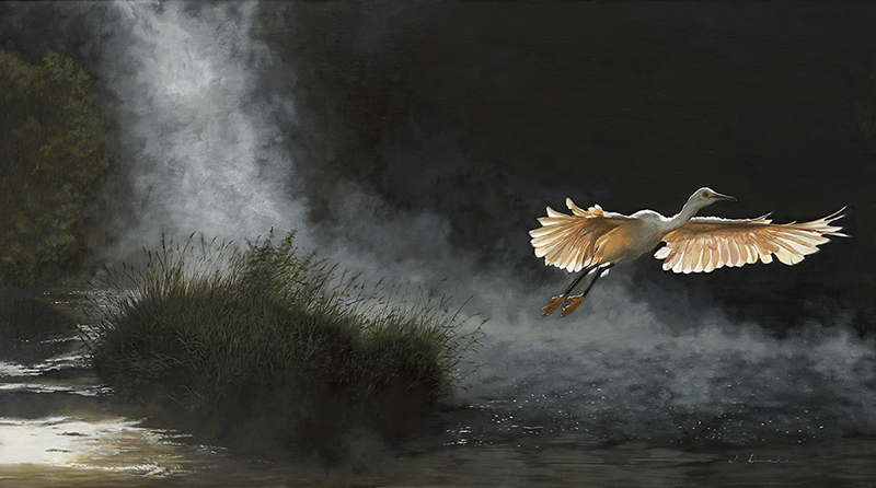 "Daybreak at River's Edge    - oil on linen, 26 x 48"" Sold"
