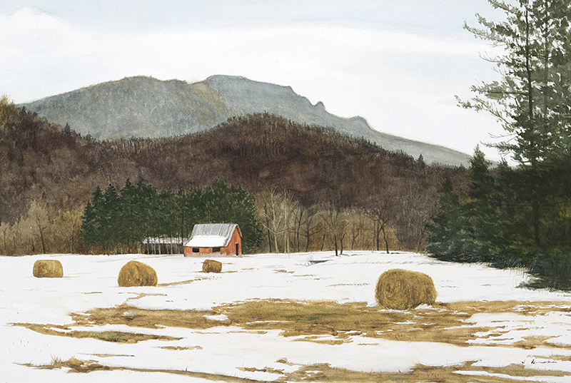 In the Shadow of Grandfather Mountain    - watercolor, 18 x 27""