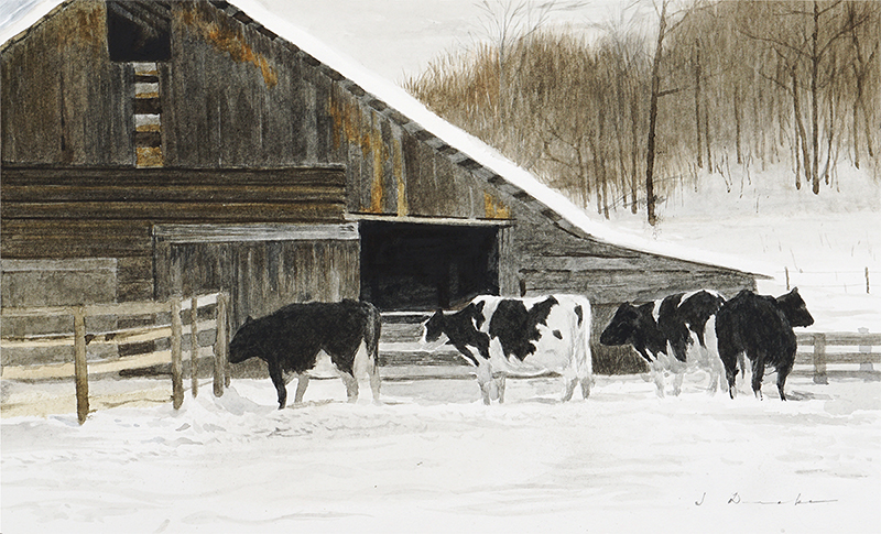 "Cold Morning    - watercolor, 7 7/8 x 13"" Sold"