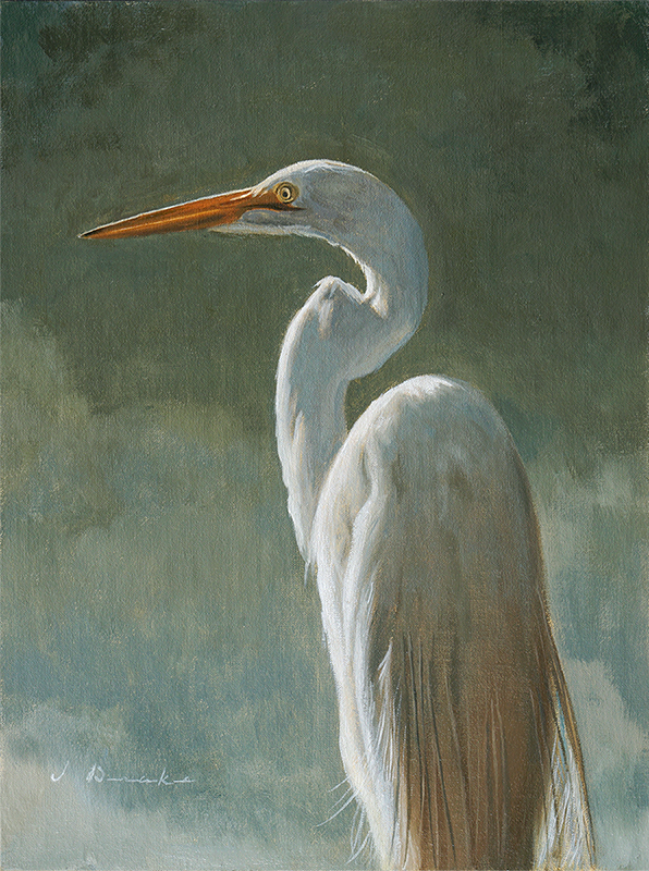 "Elegance - Egret    - oil on linen, 12 x 9"" Sold"