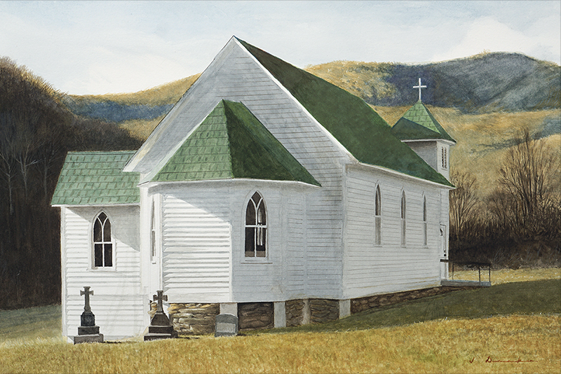 Mountain Chapel    - watercolor, 16 x 24""