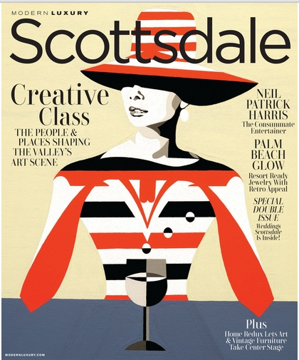 Dominic Bourbeau's artwork graces the cover of Modern Luxury Scottsdale December issue. - Article on page 115.