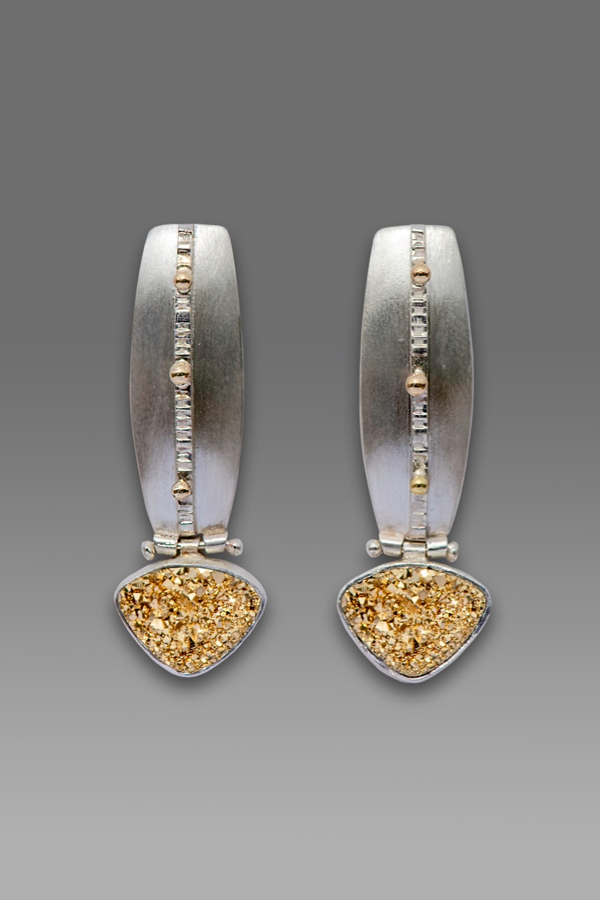 18K gold druzy earrings in sterling silver with 22K gold accents.jpg