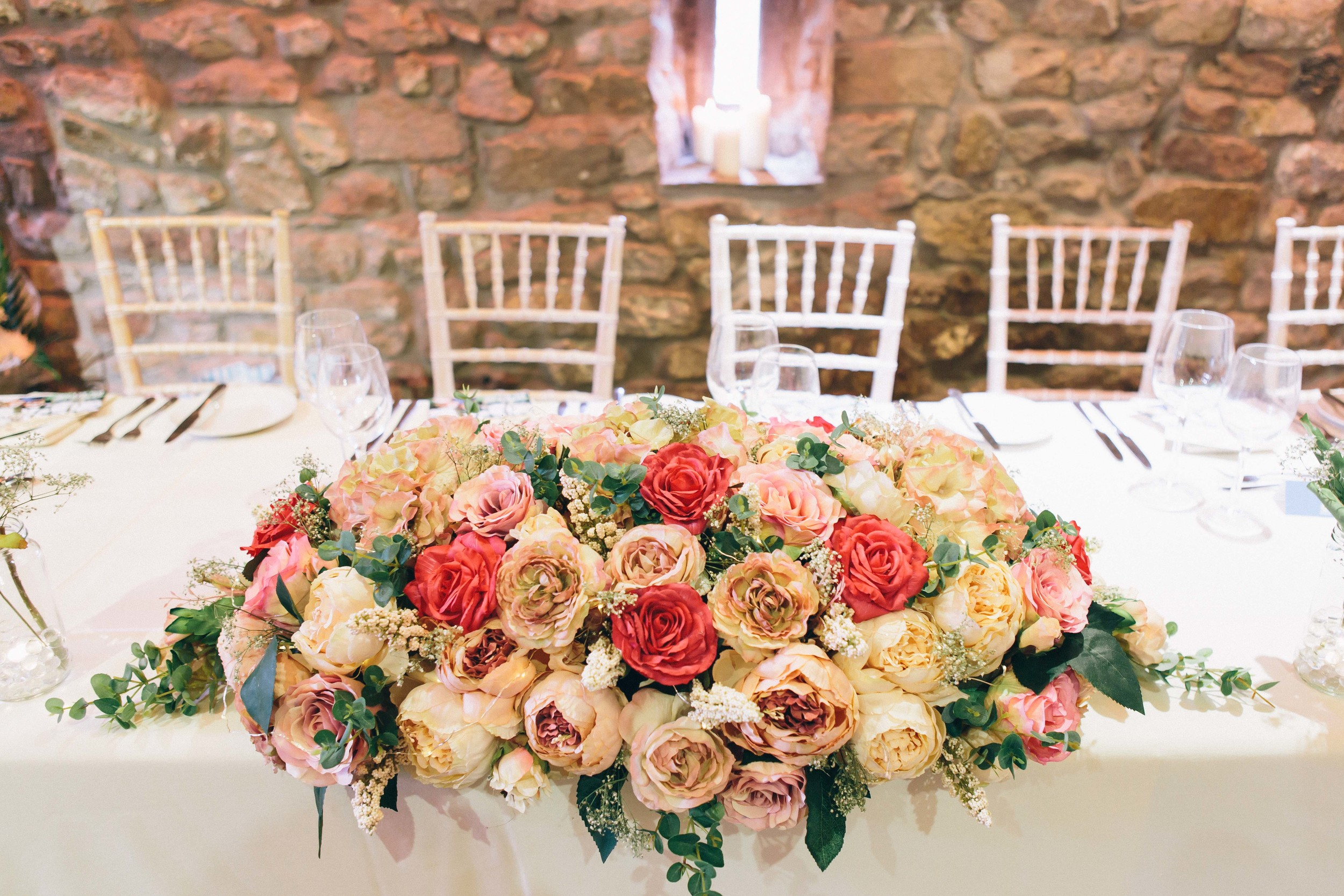 Wedding flowers, table decorations
