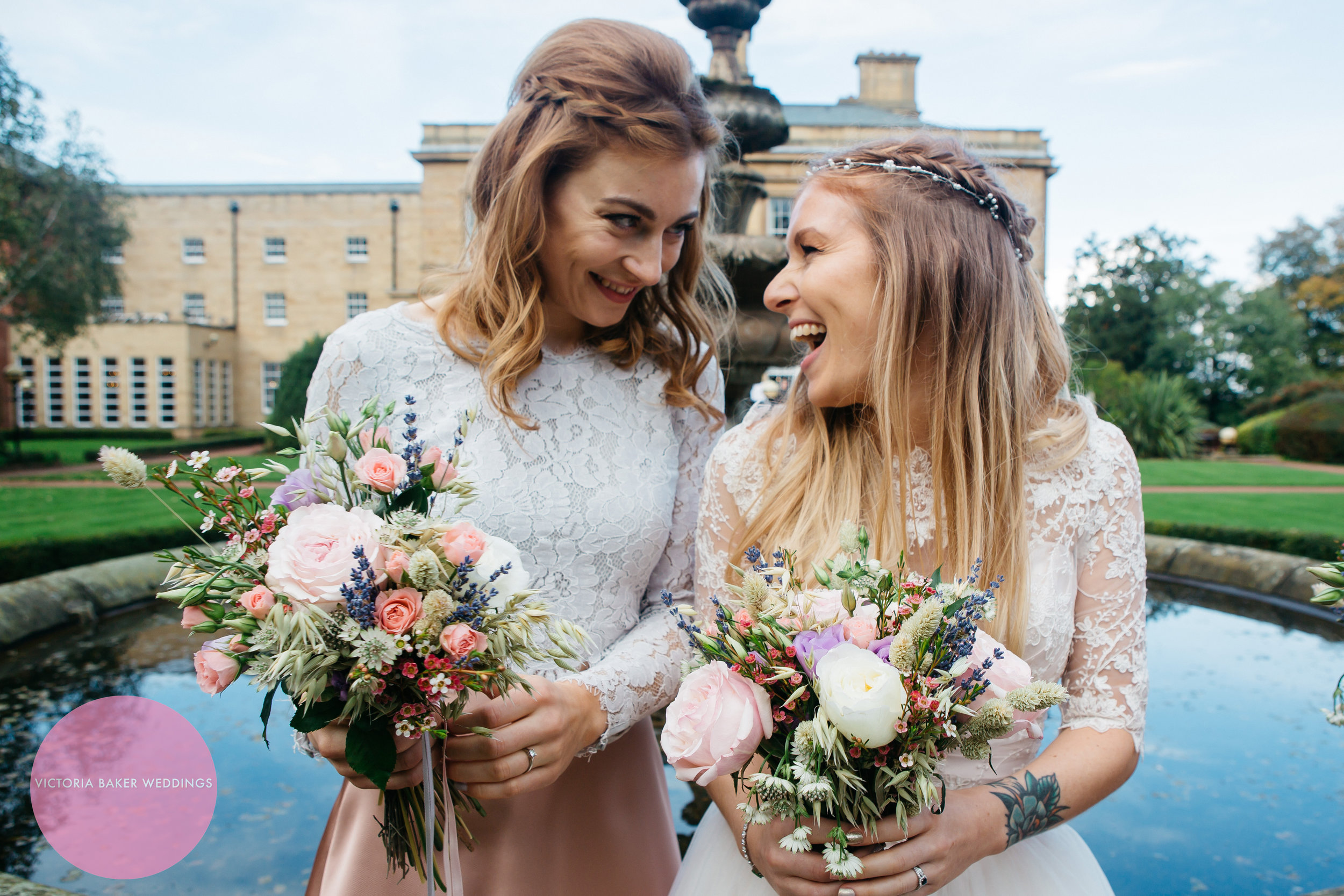 Bride and maid of honour at Oulton Hall