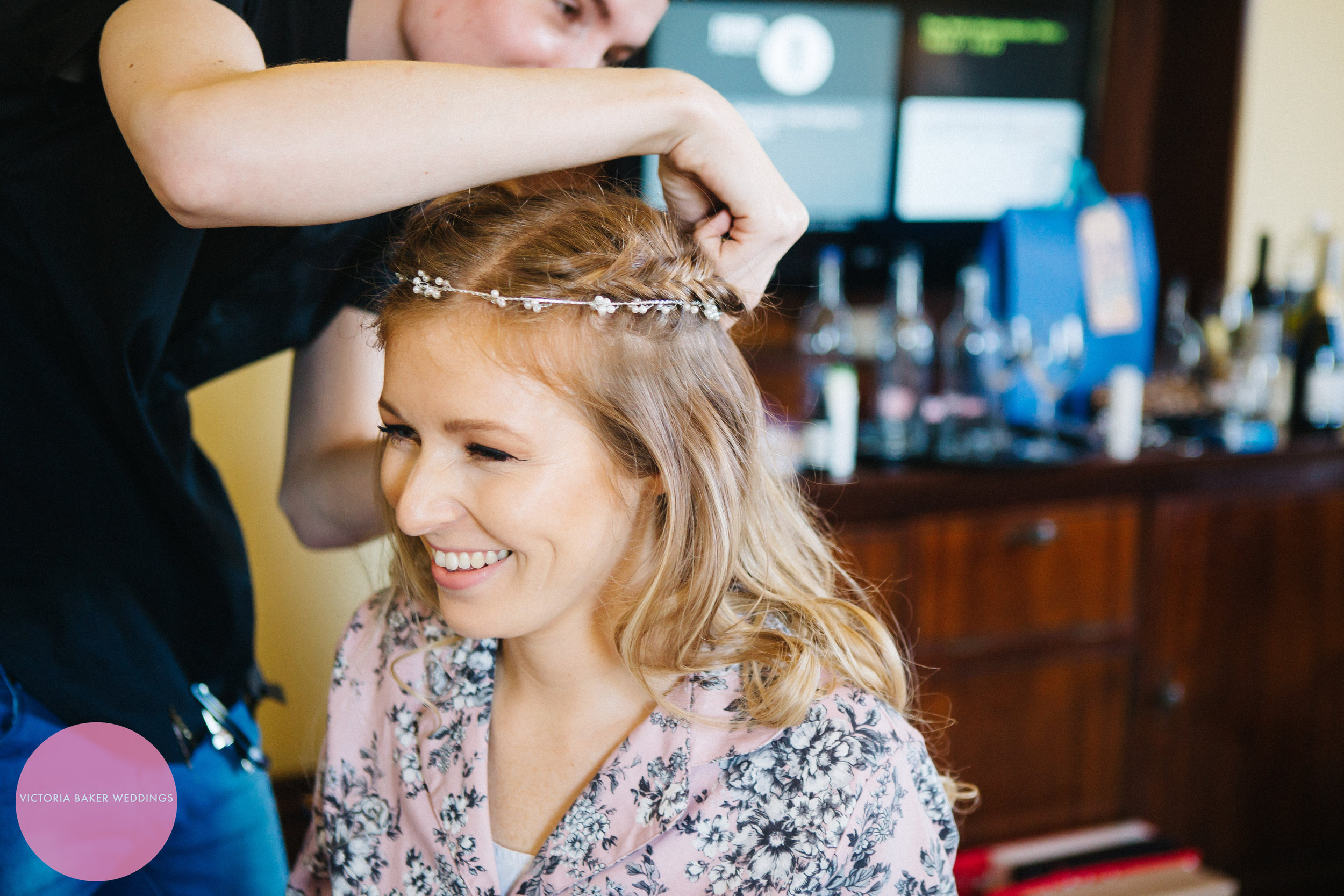 Bride getting hair done Oulton Hall Leeds