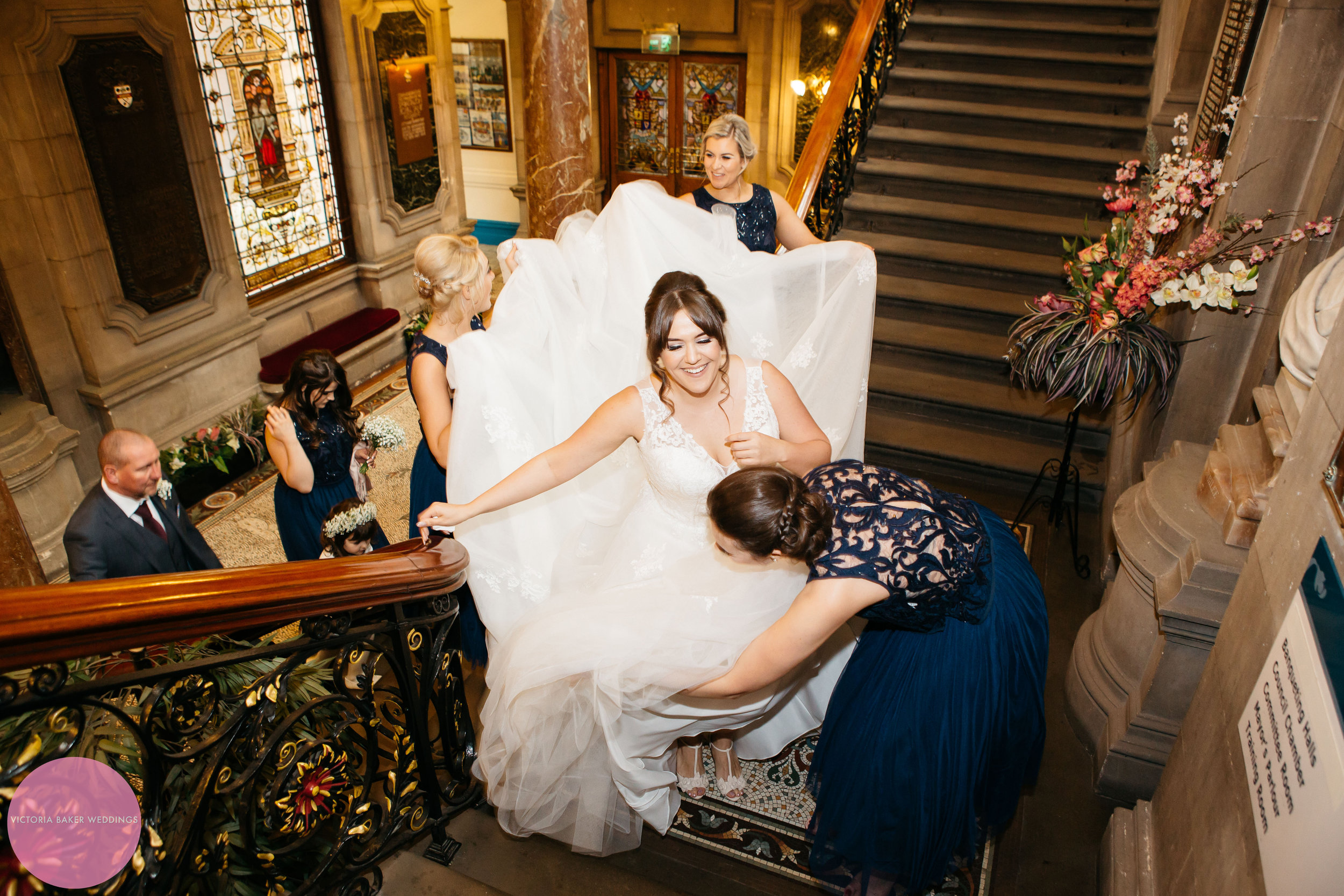 Bride arriving at Town Hall | Wedding Photography Leeds